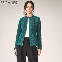 grüne lederhülsenjacke großhandel-ESCALIER Frauen-echtes Leder-Jacken-beiläufiges Schweinsleder plus Größen-Oberbekleidung-Grün-lange Hülsen-Frauen-Herbst-grundlegende Jacke Mäntel