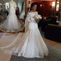 Wholesale sexy wedding dresses online - 2019 New White Mermaid Wedding Dress Off Shoulder Long Sleeve Lace Bridal Gowns Floor Length Saudi Arabic Plus Size Wedding Dress Custom