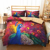 Wholesale peacock bedding resale online - Explosion models d watercolor peacock printing hot selling bedding two piece three piece suit