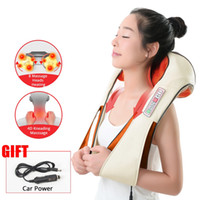 Fast Ship Home Car Electric Heating Back Massaging Neck Massager Pillows Cape Shiatsu Infrared Kneading Therapy Ache Shoulder Relax