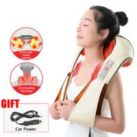 terapia de massagem elétrica venda por atacado-Navio rápido Para Casa de Aquecimento Elétrico de Volta Massageando Pescoço Massageador Almofadas Cape Shiatsu Amassar Terapia Infrared Terapia Ombro Relaxar