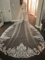 zuhair murad dantel uzun toptan satış-Zarif Zuhair Murad 2 Katlı Uzun 3 M * 1.5 M Katedrali Dantel Kenar Gelin Düğün Peçe Ücretsiz Kargo