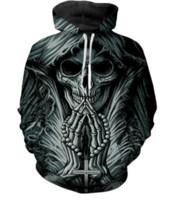 3d kafatası dövmeleri toptan satış-Moda 3D Baskılı Grim Reaper Kafatası Dövme Erkekler Kadınlar PulloVer Hoodies Sokak Giyim Rahat Hip Hop Cepler Kazak Giyim ZGXL049