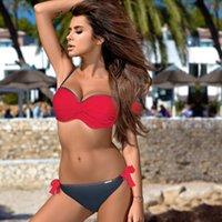 maillot de bain push-up bandeau rouge achat en gros de-Femmes rouges Bandeau Bikini Ensemble Push Up Maillot De Bain Sexy Rembourré Europe Femme Maillots De Bain Été Beachwear Maillot De Bain Bordé Biquini