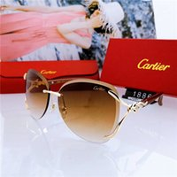 neue brillenweinlese großhandel-Top Luxus Qualtiy New Fashion Frauen randlose Sonnenbrille Vintage Metall Dickglas Spiegel Sonnenbrille Hohe Qualität Stern Stil mit Box