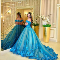 vestidos de quinceañera turquesa tule venda por atacado-Turquoise Alças vestido de baile Quinceanera Vestidos 2020 Tulle Lace Appliques frisada Tribunal Trem Plus Size Vestidos de novia Dresses Prom