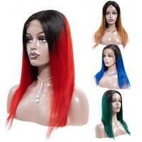Wholesale bob red ombre wigs online - Soft Hair Remy Ombre Blonde Lace Front Human Hair Wigs PrePlucked B Burgundy Green Blue Red Brazilian Straight Bob Wig For Women
