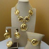 conjunto de joyas de oro chapado en dama al por mayor-Yuminglai 2019 Fashion Dubai Luxury Jewelry Set Hollow Plated Gold Lady Jewelry Sets FHK5558