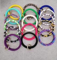 pulseira de couro pu venda por atacado-Pulseira de couro Chaveiro Girassol Serape Leopardo Pulseiras De Couro PU O Anel Chave Pulseira Círculo Wristlet Jóias Pulseira GGA2439
