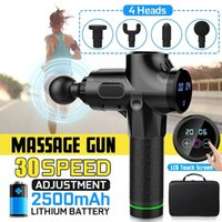 Wholesale muscle massage machines resale online - 4000r min Muscle Massager Electric Therapy Body LED Muscle Massage Guns Files Body Relaxing Relief Massage Machine HeadsMX190930