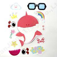 ingrosso laptop per bambini-24 pz / lotto Baby Shark Sticker Rifornimenti del partito Gioco Boy Girl Paster DIY del fumetto del giocattolo Decor decorazione della stanza dei bambini Auto Laptop adesivi A61306