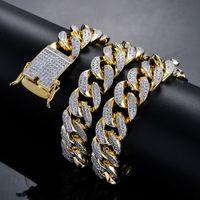 18 mm gümüş zincir toptan satış-Erkek 18mm Ağır Buzlu Out Zirkon Miami Küba Bağlantı Kolye Gerdanlık Bling Bling Hip hop Takı Altın Gümüş Zincir 18
