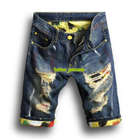 самые короткие джинсовые шорты оптовых-Новые Летние Мужские Отверстия Джинсовые Шорты Модные Мужские Джинсовые Джинсы Тонкие Прямые Брюки Тенденция Мужские Дизайнерские Штаны