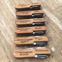 ingrosso coltelli personalizzati-Personalizzato Incidere apribottiglie Cavatappi Pocket Knife Personalizza Best Man regalo Groomsman regalo House Warming favore di cerimonia nuziale regalo