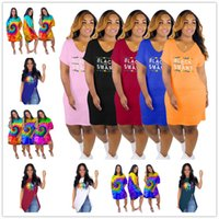 Wholesale sexy 3d print t shirt online – design 3D Tie dye Sexy Irregular V Neck Skirts Black Smart Letters Casual Dress Rainbow Lips Loose Dresses Women Summer t shirt Dresses C73102
