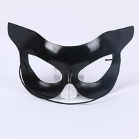 Wholesale cat costumes for halloween online - Mardi Gras Party Masks Half Face Cat Face Plastic Patch Beauty Cat Girl Ball Costume Hotel Performance Mask qkE1
