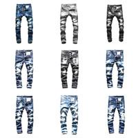 jeans de designer chauds achat en gros de-HOT Top Brand dsquared2 jeans ds2 jeans mens designer jeans hommes Denim noir Jeans Pantalon de broderie De La Mode Trous Pantalons Italie Taille 44-54