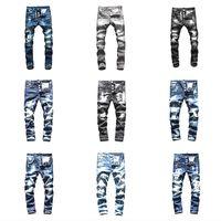 schwarze skinny jeans mode männer großhandel-INS Top Marke dsquared2 jeans ds2 jeans herren designer jeans Männer Denim schwarz Jeans Stickerei Hosen Mode Löcher Hosen Italien Größe 44-54