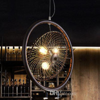 Wholesale industrial fans for sale - Group buy New Retro industrial wind North European led pendant lamps American style country bar personality creative Loft Iron fan pendant chandelier