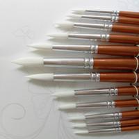 ahşap alet tutamakları toptan satış-24 adet / grup Yuvarlak Şekil Naylon Saç Ahşap Saplı Boya Fırçası Sanat Okulu Suluboya Akrilik Boyama Malzemeleri Için Set Aracı