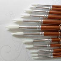 werkzeuge für die malerei kunst großhandel-24 teile / los Runde Form Nylonhaar Holzgriff Pinsel Set Werkzeug Für Kunst Schule Aquarell Acrylmalerei Liefert