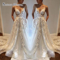 Wholesale backless line beach wedding dresses online - Pallas Haute Lace Applique Sexy Country Wedding Dresses Modest Spaghetti Straps V Neck Backless Chapel Train Beach Boho Bridal Gowns