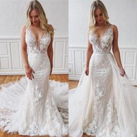 Wholesale wedding dress removable tulle straps resale online - Soft Tulle Removable Train Sleeveless Mermaid Wedding Dresses Lace V Neck Sexy Plus Size Backless bridal Wedding Gowns BC2767