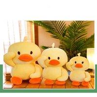 peluche pato amarillo al por mayor-Dibujos animados suave moda almohada muñeca de peluche de juguete para niños pequeños pato amarillo imprimir cómodo felpa cojín de juguete regalos de los niños