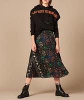 5997b0fe00 2019 Falda plisada con estampado floral francés Longitud de medio  pantorrilla Faldas de mujer Sand Spring J05