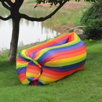 Wholesale rainbow bedding sets resale online - hot Lounge Rainbow Sleep Bag Lazy Inflatable Sofa Outdoor Lazy Self Inflated Sofa Sleeping Bags Garden Sets Inflated Inflatable bed T2I5185
