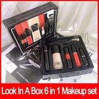 ingrosso fondamento lucido lucido-2019 Nuovo set di trucco Look In A Box Set da sole senza fine Matte Lipstick Lip Gloss Eyeliner Mascara Foundation 6 in 1 Cosmetic Kit