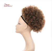 Wholesale afro extension synthetic hair resale online - 10inch Afro Puff Drawstring Ponytail Kinky Curly Synthetic Hair Updo Chignon Bun Hair Piece Extension Medium Size