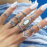 opal kristal halka toptan satış-Bling Opal Vintage Yüzükler Kadınlar Boho Geometrik Çiçek Kristal Knuckle Yüzük Seti Bohemian ay Parmak tasarımcı Takı drop shipping