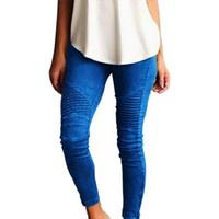 sıska bez toptan satış-Lady İnce Casual Pantolon Avrupa Rusya Moda Kadınlar Mavi Yeşil Pamuklu Bez Şerit Patchwork Sıkı Bel Elastik Bant Uzun Pantolon