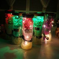 Wholesale wishing box resale online - Gift Box Eternal Flower Glass Bottle Starry Dried Flowers Bouquet Wish Bottle with Light Valentine s Day Gift