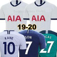 camisa de uniforme blanco al por mayor-Tottenham Hotspur Camiseta de fútbol SPURS 18 19 20 LUCAS soccer jersey hombres mujeres niños shirts LLORENTE 2019 2020 KANE SON ERIKSEN LAMELA DELE calidad superior de Tailandia
