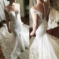 Wholesale sexy mermaid v neckline wedding dresses resale online - Elegant Steven Khalil Lace Wedding Dresses Illusion Neckline Short Sleeve See Through Mermaid Wedding Dress Bridal Gowns robe de mariee