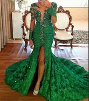 frente de renda de cristal venda por atacado-Verde esmeralda frente dividir vestidos de noite com mangas compridas 2019 lindo cristal frisado rendas vestido de baile Vestidos Formal Pageant Dress Party