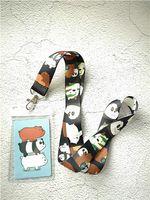 lindo anime panda al por mayor-1 unids anime panda lindo pvc nombrado titular de la tarjeta insignia de identidad con cordón correa para el cuello tarjeta Bus bus titulares con llavero