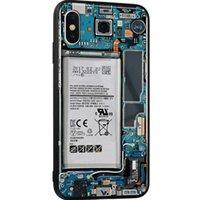 casos divertidos al por mayor-Caja del teléfono de la placa de circuito divertido para iPhone X XR XS Max cubierta de cristal templado para iPhone 7 8 6 6 S Plus Casos Coque