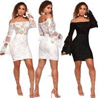 mini-mantel kleid transparent großhandel-Spitzenkleid, figurbetontes kleid Sexy Mini Frauen Sommerkleider Robe Transparent Sehen Vestidos Mujer Schulterfrei Mantel Jurken