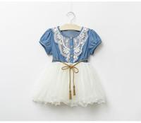 denim-spitzenkleidung großhandel-Sommer Baby Kleid Denim Mädchen Kleider 2018 Neue Kinder Lace Floral Mädchen Rock Kurzarm Prinzessin Kleid Baby Jeans Rock Baby Kleidung