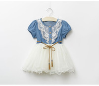 vestido de jeans para niña de niños al por mayor-vestidos de verano del bebé vestido de mezclilla de chicas 2018 chica de encaje floral Nuevos niños de la falda de la manga corta de vestir pantalones vaqueros del bebé de la princesa falda del bebé de ropa