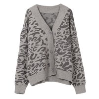 e8aa9f2e4f New 2018 Autumn Winter Women Leopard Knitted Cardigans V-neck Single  Breasted Vintage Casual Wool Knitting Warm Sweaters