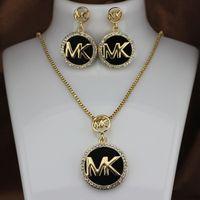 altın flaş takı toptan satış-M harfi elmas dolgulu süper flaş harfler Küpe Kolye seti takı seti erkek ve kadın altın ve gümüş takı