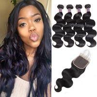 Wholesale 22 inch human hair 4pcs resale online - Brazilian Body Wave Human Bundles With Closure Peruvian Hair With Closure Malaysian Body Wave Human Hair Extensions Price
