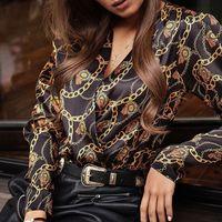 cross blouses оптовых-Блузка Рубашка женская Винтаж с принтом с длинным рукавом Женские топы и блузки Крест с V-образным вырезом Женские рубашки Модные женские блузки 2019