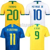 mayo futbolu brazilu toptan satış-Copa Amerika 2019 Coutinho Gesus Firmino Neymar Jr Brazil Futbol Formaları Altın Kupa Futbol Camisa Brasil Futbol Camisetas Gömlek Kiti Maillot