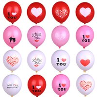 Wholesale valentines latex balloons resale online - 12 Inch inflatable Valentine Wedding party ballons room decoration Latex I Love you balloon toys supplies C5895
