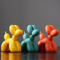 balon ballon toptan satış-SıCAK Moda Fırçalama Ballon Köpek Seramik Reçine El Sanatları Heykel Ev Dekorasyon Yaratıcı Hediyeler Için Heykelleri Modern Balon Köpek Heykeli